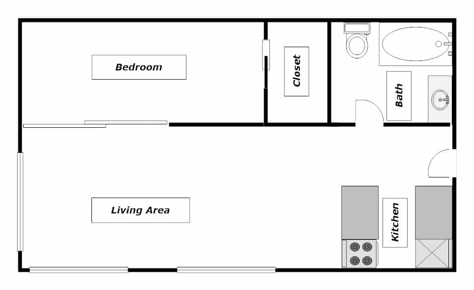 Junior 1 Bedroom Apartment Layout