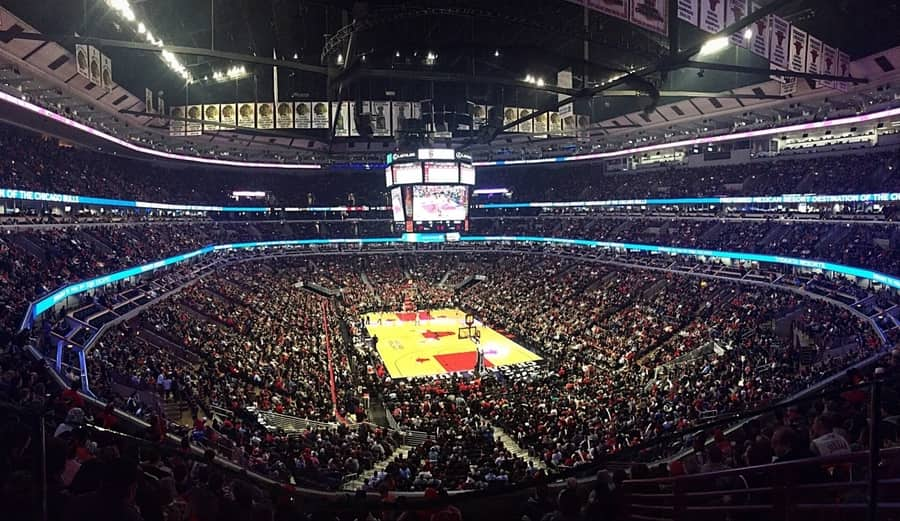 The Chicago Bulls play the Miami Heat in the United Center