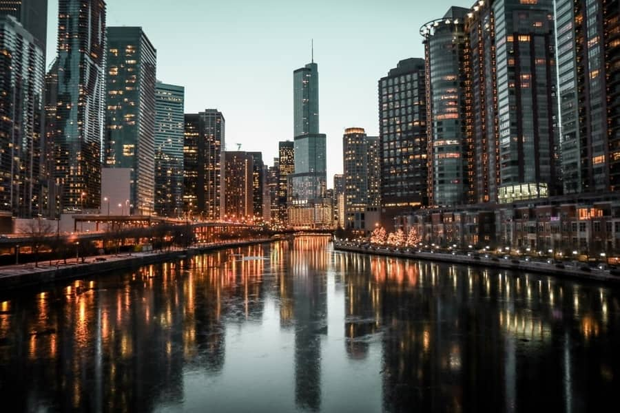 The frozen Chicago River