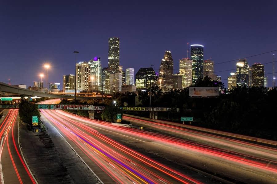 Night traffic in Houston Texas