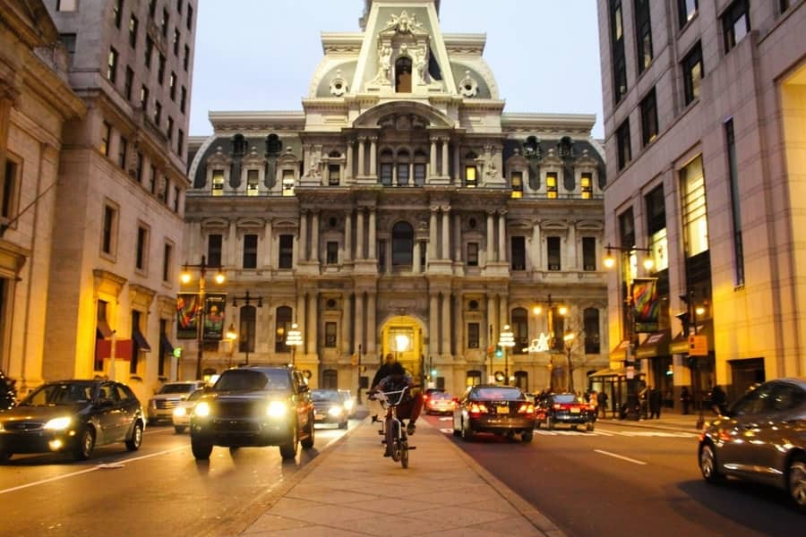 Traffic at Philadelphia city hall