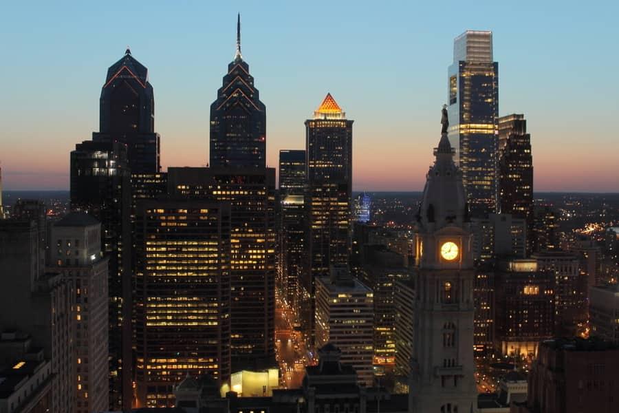 Philadelphia at night, Pennsylvania, USA